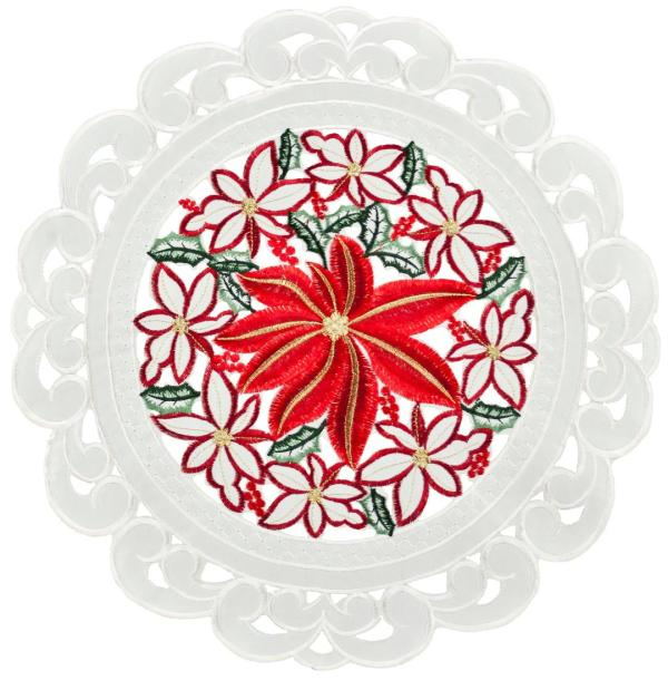 christmas large poinsettia doily