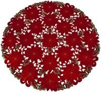 "red poinsettia round doilies – 24"""