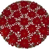 red poinsettia round doilies – 24""