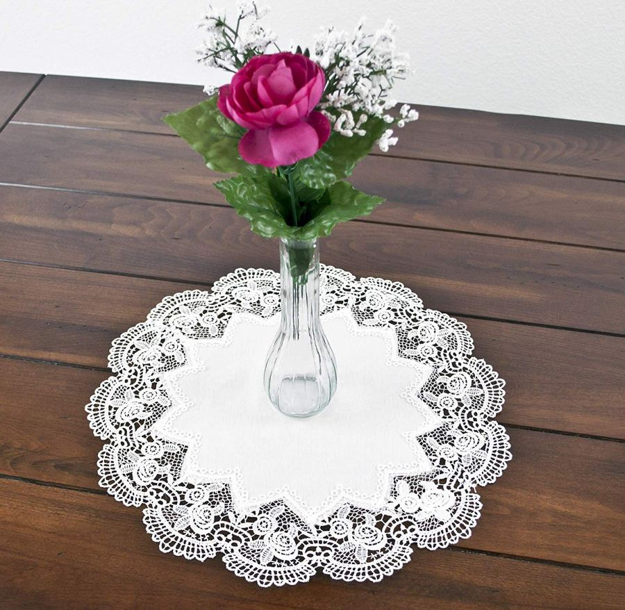 15″ round antique royal rose white lace doily