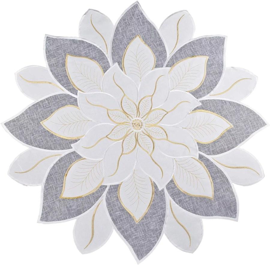 embroidered poinsettia star round doily