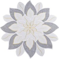 embroidered poinsettia star round doily