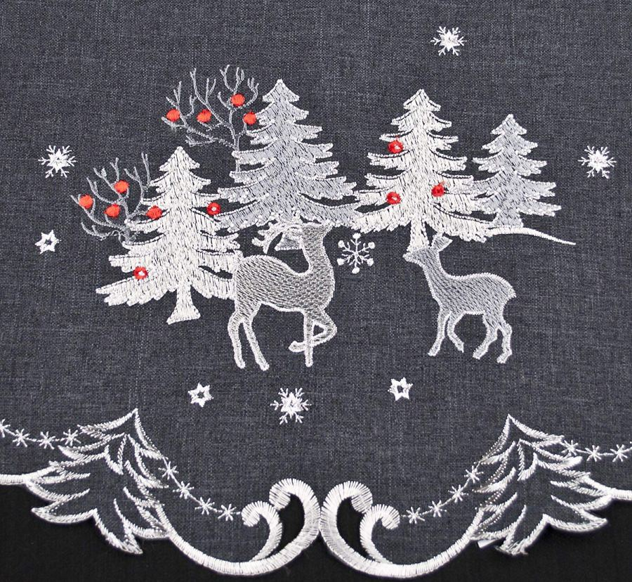 silver reindeer doilies on dark gray