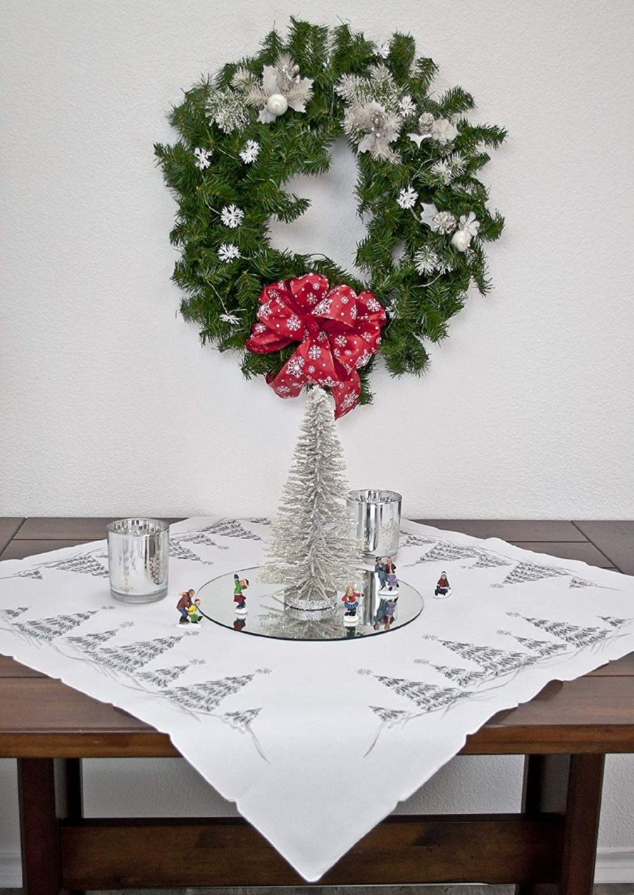 silver christmas tree table topper
