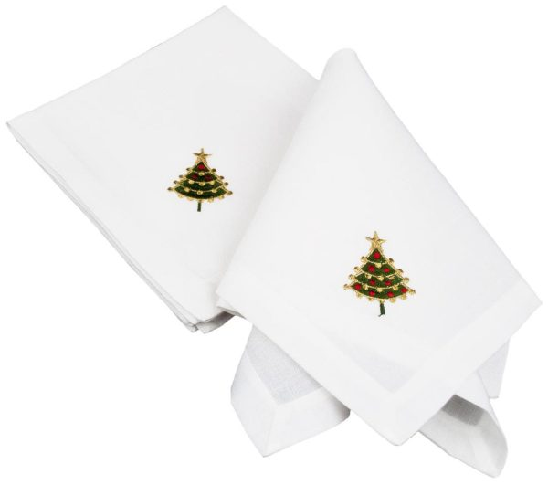 embroidered linen christmas tree napkins-set of 4
