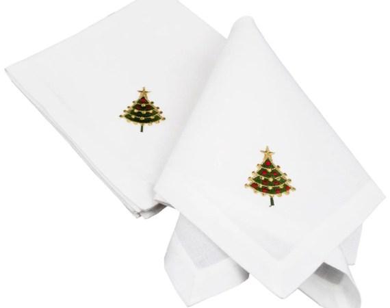 embroidered linen christmas tree napkins-set of 4