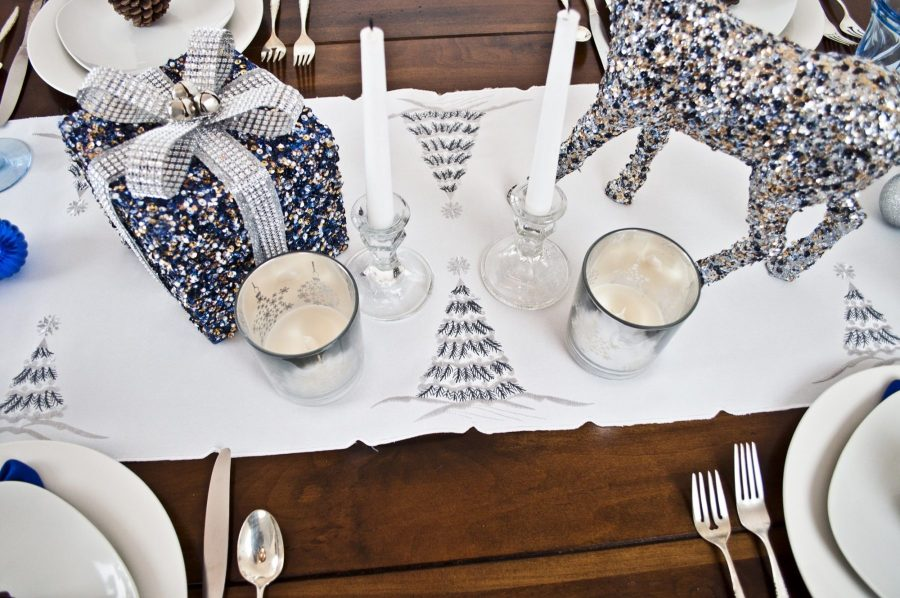 embroidered christmas tree table runner