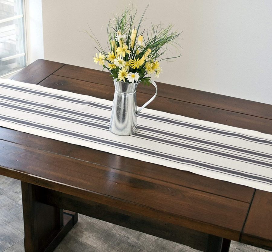 gray, blue or green and white stripe table runner