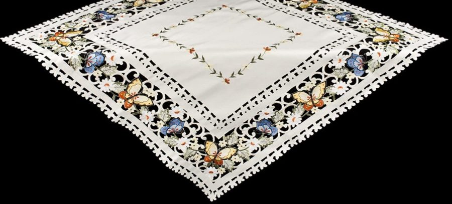 embroidered butterfly table topper