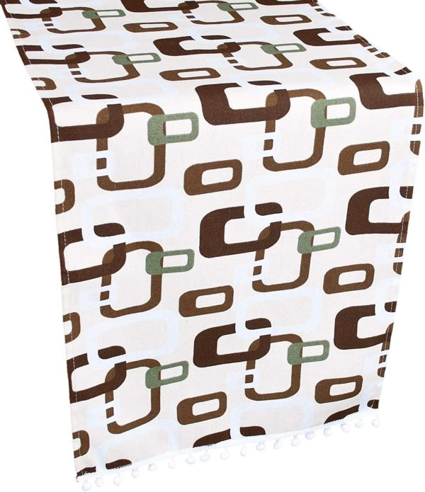 table runner with brown triangular squares on ivory – 16 x 35 rectangle