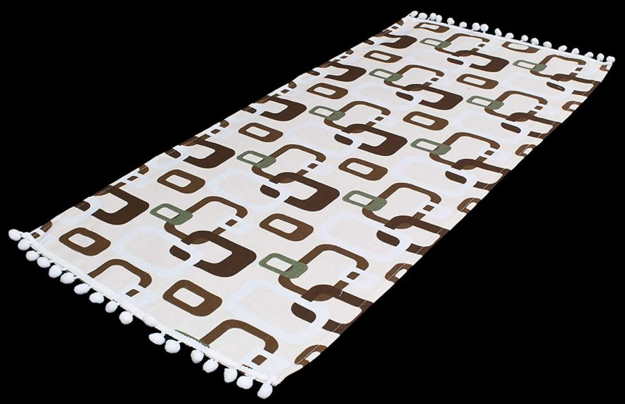 table runner with brown triangular squares on ivory – 16 x 54 rectangle