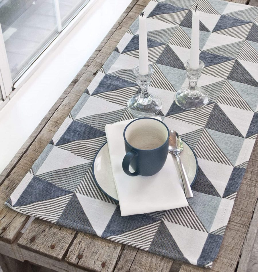 table runner with triangle patterns in blue and gray – 16 x 54 rectangle