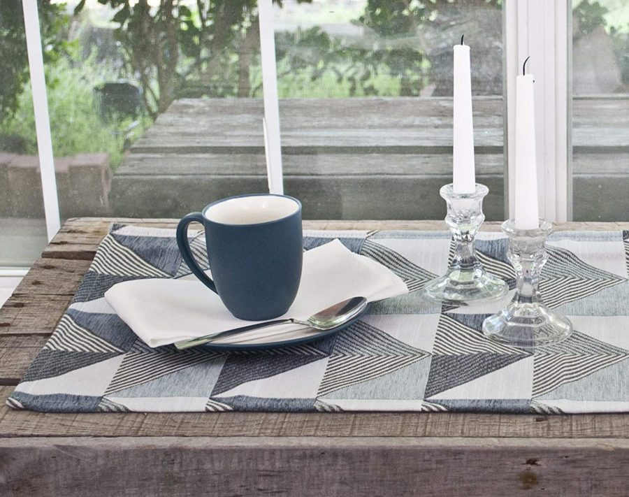 table runner with triangle patterns in blue and gray – 16 x 35 rectangle
