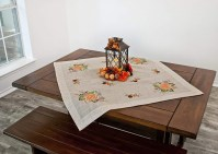 fall embroidered pumpkins and grapes table topper – 23x23