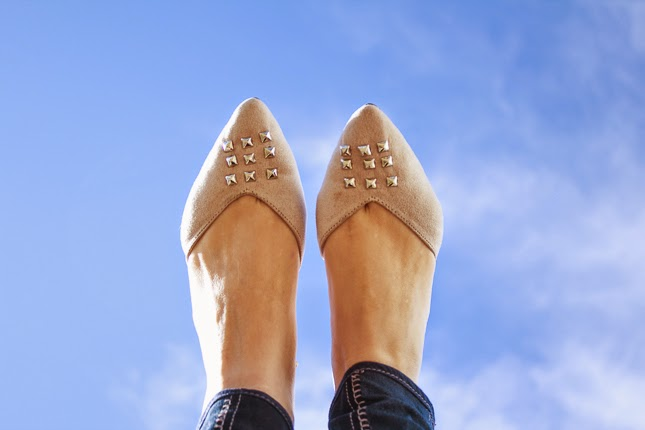 c8e93d735 Add some fun silver studs to the front of a simple pair of flats via Horses  and Heels.
