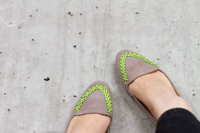3257cc9ee Add a neon accent to neutral shoes via Paper   Stitch.