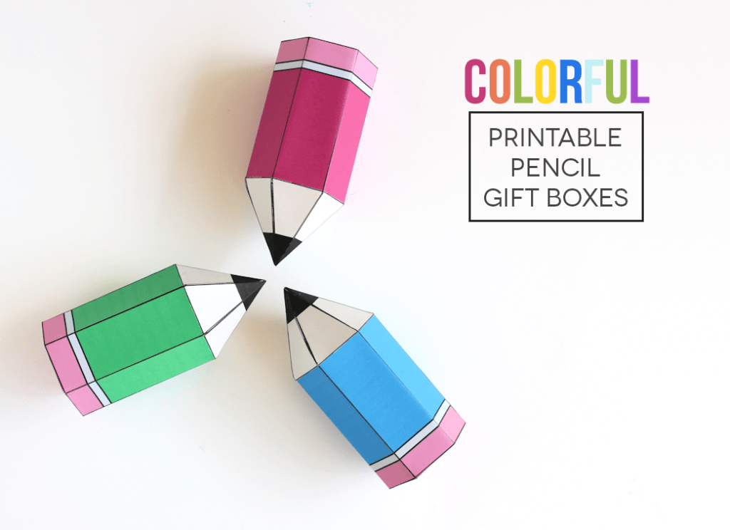 colorful printable pencil gift boxes lines across