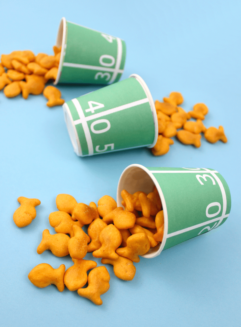Free Printable Football Field Yards Snack Cups with Goldfish Crackers