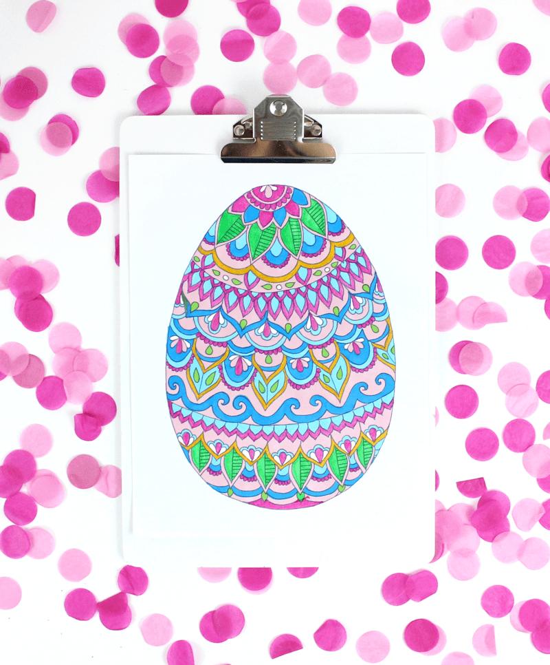 Free printable easter egg coloring sheet colorful @linesacross