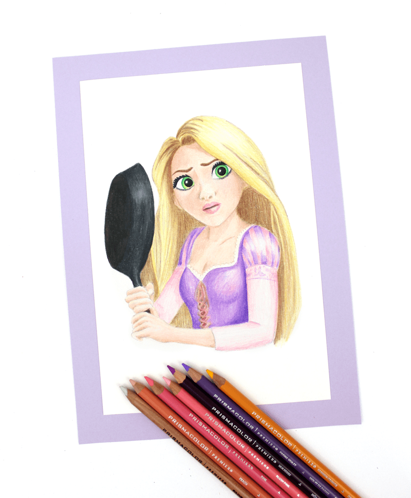 Prismacolor - Rapunzel colored pencil drawing by @linesacross