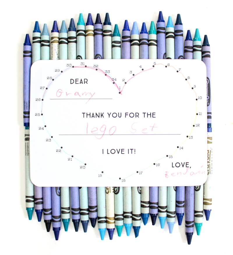 Color-in thank you cards from tiny prints