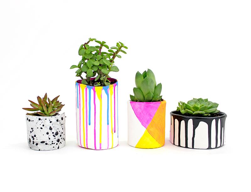 Paint Drip Planters @linesacross