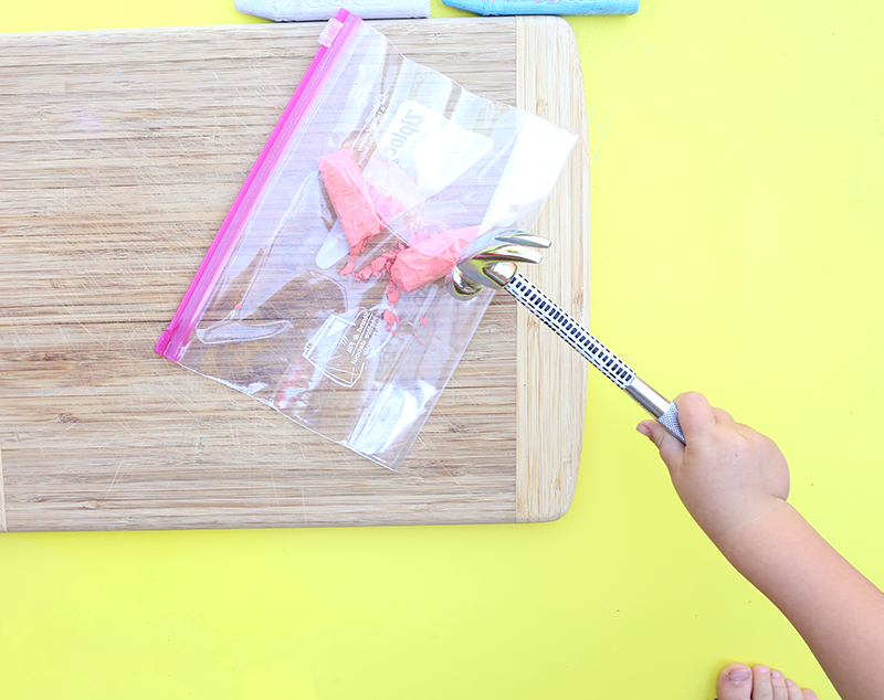 DIY Sidewalk Chalk - smash the chalk in a plastic bag with a hammer