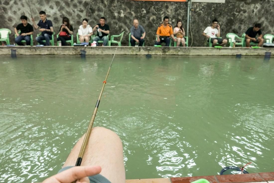 fishing for shrimp is simple enough you hook your bait and drop your line into the pool hoping for the shrimp to bite theres no reel and the line is a