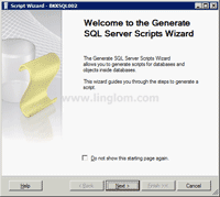 Welcome to the Generate SQL Server Scripts Wizard