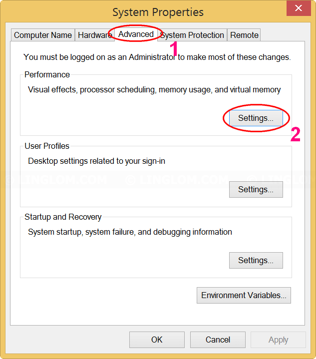 Open Performance Options on Windows 8.1