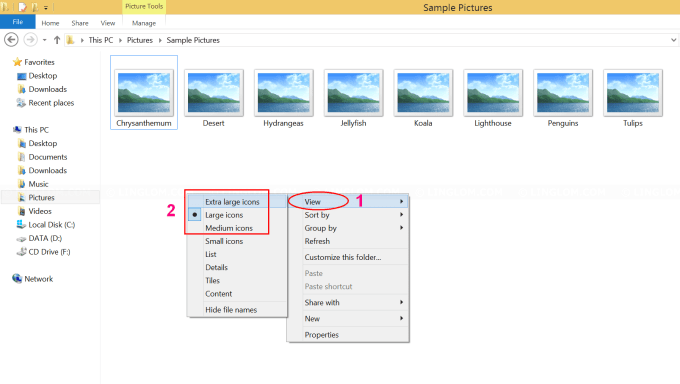 Select 'Large icons' layout on Windows 8.1