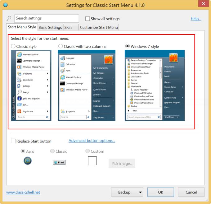 Select Start Menu style on Classic Start Menu Settings