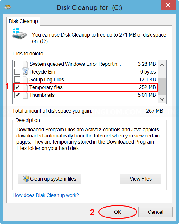 Select files to delete on Disk Cleanup