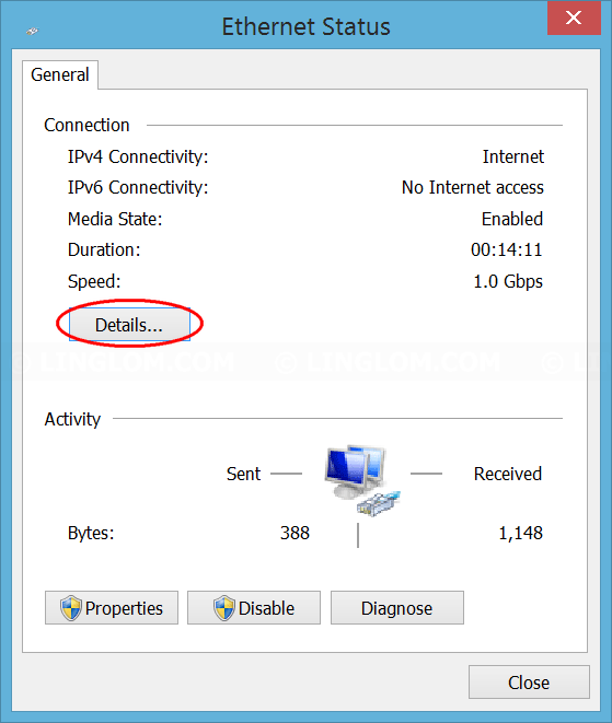 Click Details on network status window