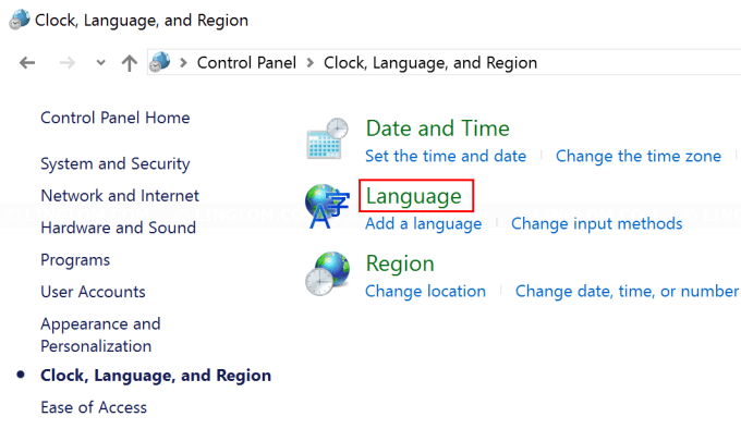 Select language in Control Panel
