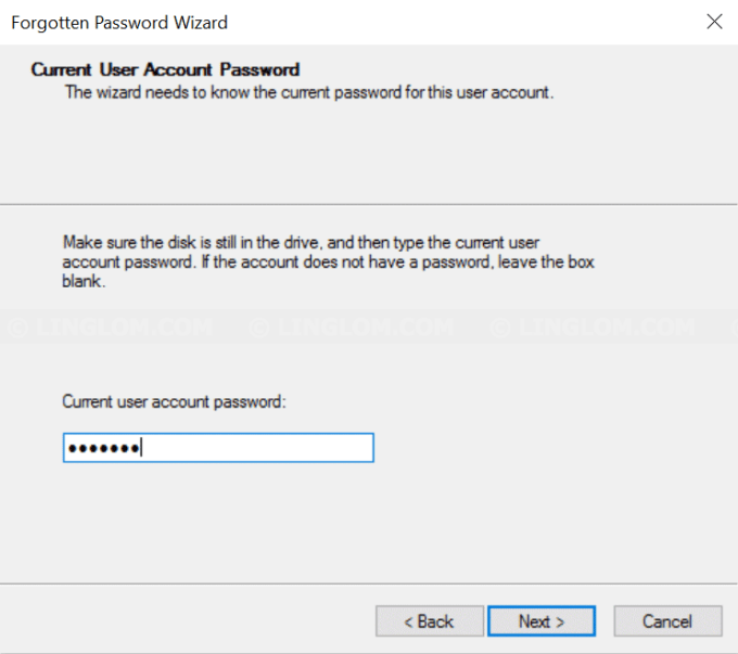 Enter user account password