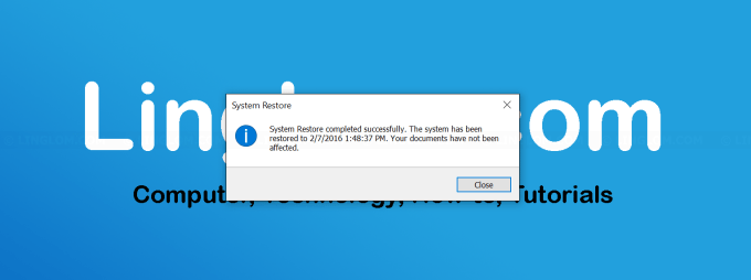 Finished restore Windows system