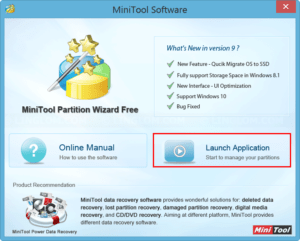 Launch MiniTool Partition Wizard