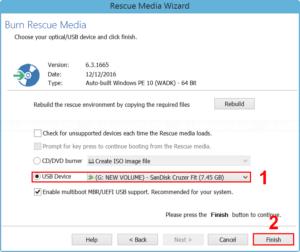 Create rescue media on a flash drive