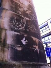 reverse graffiti on the Police Station, Bristol
