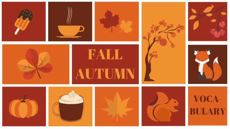 Couverture article sur l'automne - fall autumn vocabulary