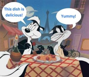 """Petit montage par LinguiLD pour exprimer l'utilisation du terme """"delicious"""" avec Pépé et Penelope"""