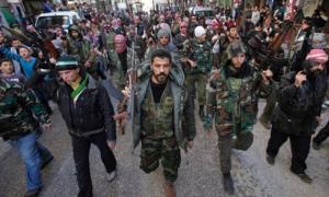 la marcia dei ribelli siriani