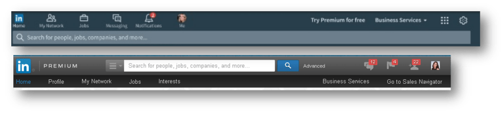 LinkedIn Redesign Navigation bar changes