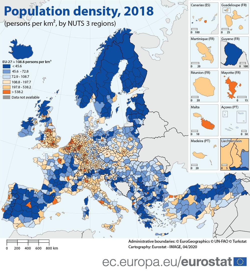 Cartina Politica Europa Con Capitali In Italiano.Quali Sono Le Regioni D Europa Con La Piu Alta E Bassa Densita Di Popolazione Linkiesta It