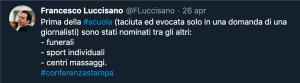 Il tweet di Luccisano
