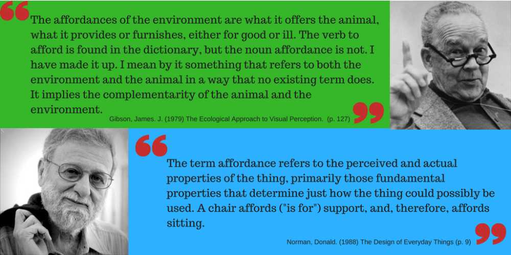 Gibson and Norman define affordances