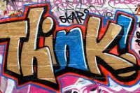 """""""Norwich Street Art: Think!"""" flickr photo by @markheybo https://flickr.com/photos/cybercafe/6993820736 shared under a Creative Commons (BY) license"""