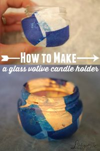 These upcycled glass votive candle holders are incredibley easy to make and are a fun craft for kids. What's especially great is they use materials you probably already have at home! They make a beautiful gift idea for teachers and holidays.