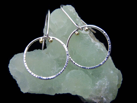 """Orbit"" earrings: recycled Argentium sterling silver, recycled 18K green gold by Beryllina"